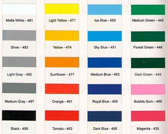 "1 Yard 12"" x 36"" Outdoor Adhesive Vinyl  3mil   (20 colors to choose from)"