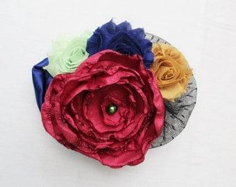 Pink, Blue, Mustard Yellow, Pastel Green Flower Brooch