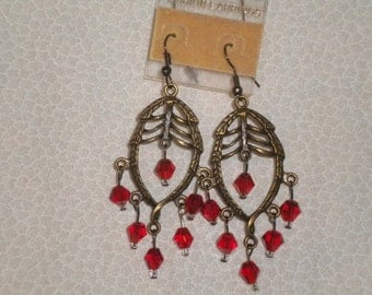 Antique gold with red earrings
