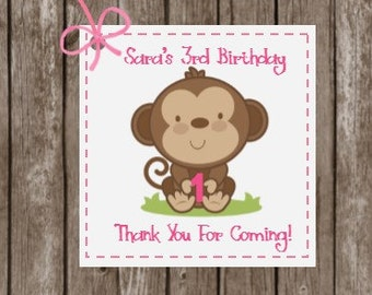 Baby Monkey Favor Tags,  Monkey Tags, Custom Tags, Gift Tags