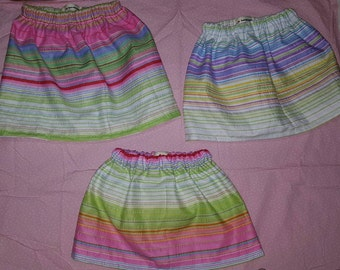 Candystripe skirts in sizes 6-12m, 12-18m, 18-24m