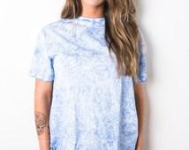 Tie Dye T-Shirt - Blue Snow Pattern Unisex (Men & Women)