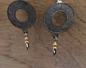 Coin and spike earrings
