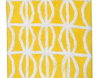 Hand Made Yellow Cotton Antolyo Bath Rug/Bath Mat(80cm x 50cm),2 Piece