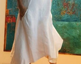 Designer Dress/Linen white Dress/Asymmetric Hems Dress/Dramatic Shift Dress/Modern Dress