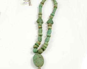 Green Turquoise Necklace Bead Strand with Oval Focal Stone - TQB006