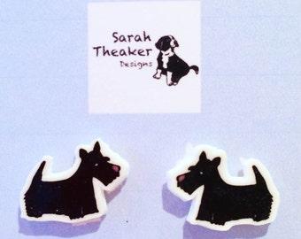 Scottish Terrier Scottie Dog Puppy Stud Earrings Handmade