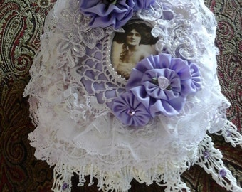 Lavender and lace fabric journal