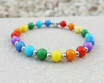 Rainbow beaded stretch bracelet coloured and shiny silver beads stacking fashion bracelets
