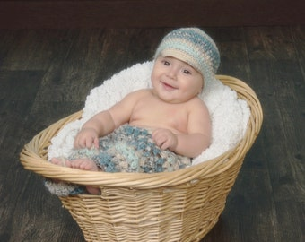 Crochet baby pants and hat set, baby boy photo prop, baby boy pants, crochet baby clothes