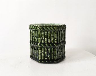 Vintage Green Ceramic Bamboo Planter - Midcentury Plant Pot