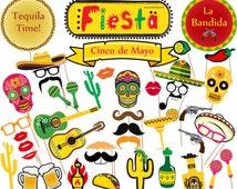 "Mexican Fiesta Photo Booth Props: ""PRINTABLE MEXICAN PROPS"" Cinco de Mayo Party Props Fiesta Theme Props Set Mexican Printable Props"