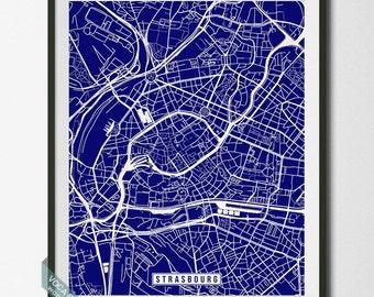 Strasbourg Map, Strasbourg Print, France Poster, Strasbourg Poster, France Print, France Map, Street Map, Home Decor, Dorm Decor
