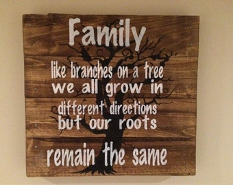 Family: Like Branches On a Tree We All Grow In Different Directions but Our Roots Remain The Same