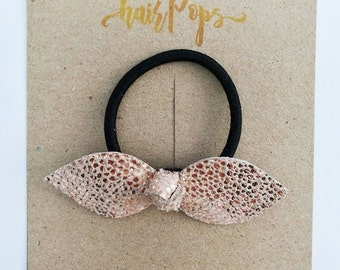 Genuine Leather Hair Tie - Cracked Peach