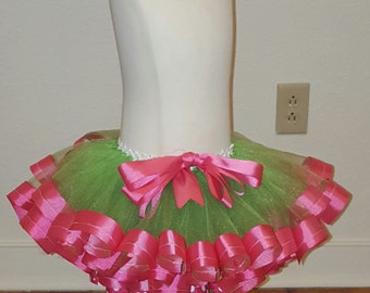 Pink and Green Ribbon Trimmed TuTu