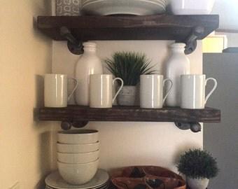 "Espresso Industrial 8"" Depth Floating Shelves, Farmhouse Rustic, Wood & Pipe Shelf, Bathroom Wall Shelve, Restoration Hardware Inspired"