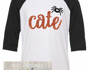 Girls Halloween Shirt , Halloween Raglan , Custom Name Halloween Shirt , Halloween Shirt