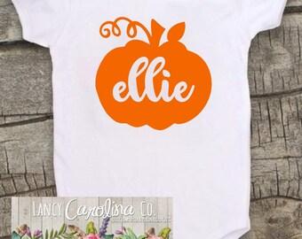 fall pumpkin girls name monogram halloween bodysuit, Pumpkin patch bodysuit