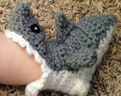 INFANT/ BABY Handmade Shark Crochet Socks (Booties)- For 0-9 months [Perfect for Baby Shower Gift]