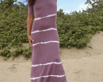 Tie Dye Maxi Dress, Summer Maxi Dress, Violet White Maxi Dress, Short Sleeves Maxi Dress, Stretched Maxi Dress, Hippie Gipsy Maxi Dress