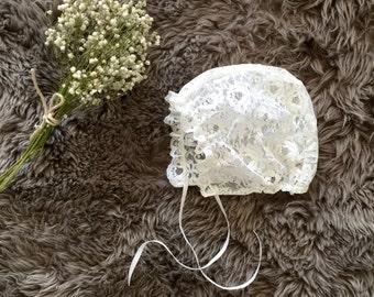 White Lace Bonnet, Lace Christening bonnet,Lace Baptism Bonnet