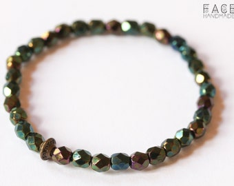 Bracelet with fire polished glass beads, dark green