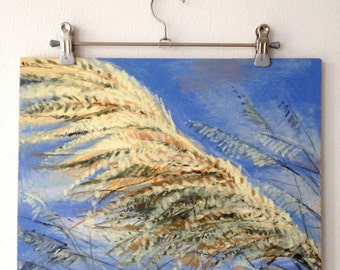Etang Canet Saint Nazaire / / / oil pastels / / / oil / / / wood / / / mixed media / / / paintings / / / France / / / elephant grass / / / blue / / / yellow