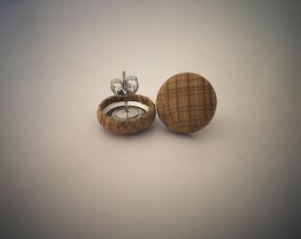 Mustard Earrings. Stripe Earrings. Handmade Earrings. Fabric Button Earrings. Gift For Her. Gifts Under 20. Stud Earrings. Clip On Earrings.