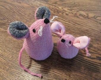Handmade 100% Tweed mice - Names: 'Blossom & Petal'