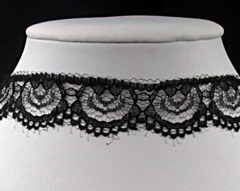 Black lace choker necklace
