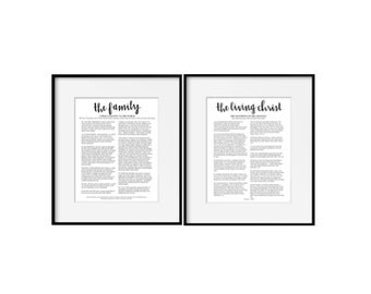 The Family Proclamation and Living Christ 16x20 Prints. LDS Prints. Mormon Art. Family Proclamation Handlettered Print. LDS Art. Calligraphy