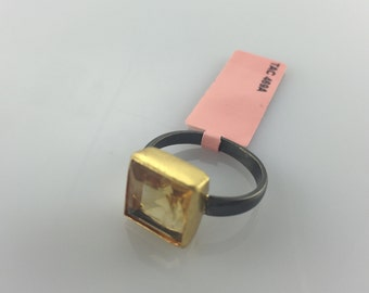 Citrine Gold-plated And Oxidized Silver Ring