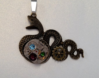 Steampunk Serpent Pendant with Vintage Watch Movement