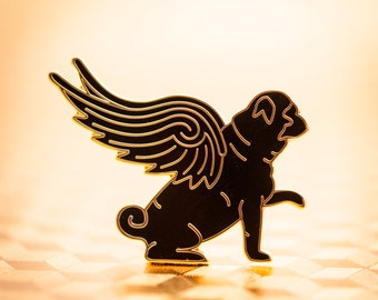 Pug Wings Enamel lapel pin | dog pin, flying dog, pug gift, pug art, dog lover gift, black pug, dog hat pin, dog brooch, hard enamel