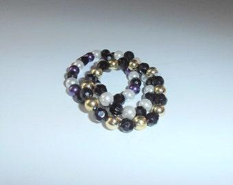 bead bracelets set 3 pcs Black rhombus violet golden beads shiny pearl shells gatsby vintage stacking bracelets set faux trinkets bracelet