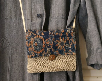 SALE/ katazome/ small bag hand sewn and knitted  in antique Japanese cotton and linen twine /boro