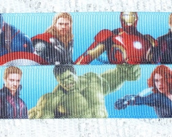 "Marvel Avengers Character 7/8"" (22 mm) Grosgrain Ribbon, Hair, Craft, Cake, Scrapbooking, Card 1 yard lengths"