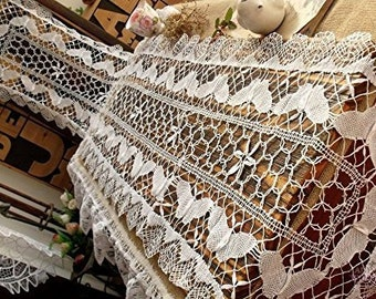 """Handmade Crochet Lace Cluny Bobbin Lace Table Runner / White Lace Dresser Scraf White Vintage 16 x 72"""" White"""