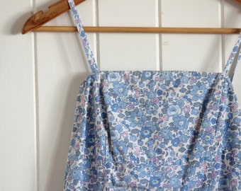 Vintage, floral, blue, 90's, dress, mid length, sleeveless