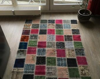 feel home design unique VINTAGE patchwork carpet original hand knotted colorful 130 x 182cm 2, 37m 2