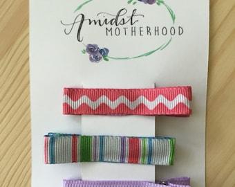 No Slip Alligator Hair Clip Set - Baby, Toddler, Girl - Pink Wavy, Stripes, Lavender