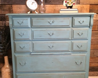 Beautiful Vintage Hand-Painted Chest of Drawers/Tall Dresser/Antiqued Turquoise