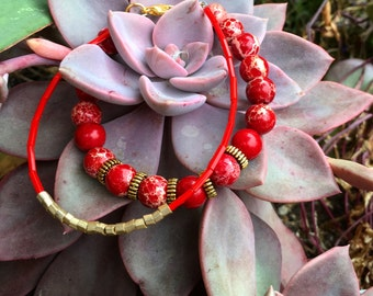 Red & Gold Beaded Bracelet