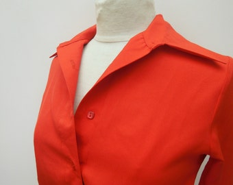 Vintage Red Crop Blouse - Size 10 S