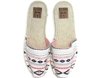 Womens aztec print espadrilles - aztec print - womens shoes - womens sandals - womens espadrilles - monogram