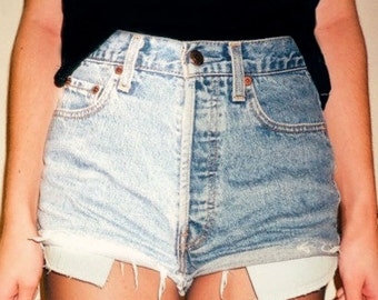 High Waisted Denim Jean Shorts Half Bleached