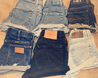 High Waisted Denim Jean Shorts Cuffed All sizes All brands