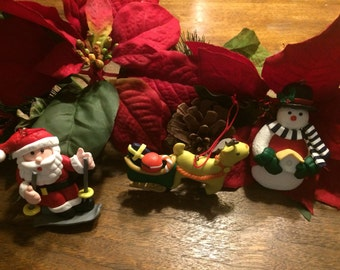 Set of 3 Clay Christmas Ornaments