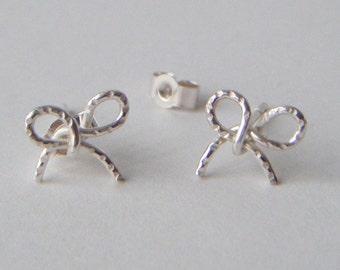 Silver Bow Earrings:  Handmade, Sterling silver
